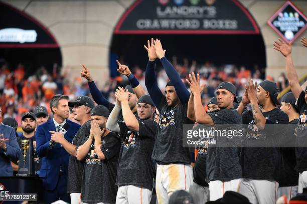 Jose Altuve Alex Bregman George Springer and Michael Brantley of the Houston Astros celebrate after winning the AL pennant with a 6-4 win in Game 6...