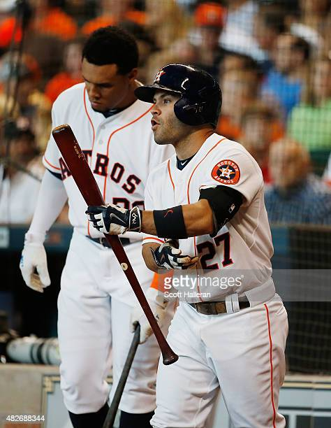 Jose Altuve and Carlos Gomez of the Houston Astros wait in the on deck circle in the first inning during their game against the Arizona Diamondbacks...