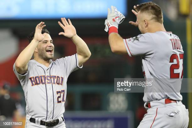 Jose Altuve of the Houston Astros and Mike Trout of the Los Angeles Angels of Anaheim and the American League during the 89th MLB AllStar Game...