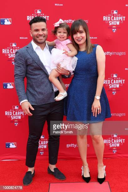 Jose Altuve of the Houston Astros and the American League attends the 89th MLB AllStar Game presented by MasterCard red carpet with guests at...