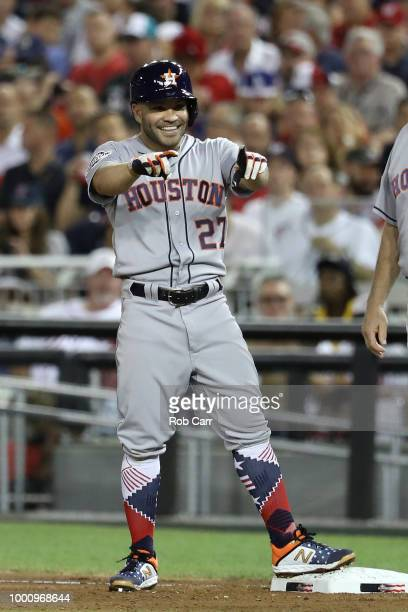 Jose Altuve of the Houston Astros and the American League reacts after a hits a in the fifth inning against the National League during the 89th MLB...