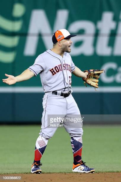 Jose Altuve of the Houston Astros and the American League reacts in the field against the National League during the 89th MLB AllStar Game presented...