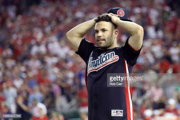 Jose Altuve of the Houston Astros and the American League reacts during the TMobile Home Run Derby at Nationals Park on July 16 2018 in Washington DC