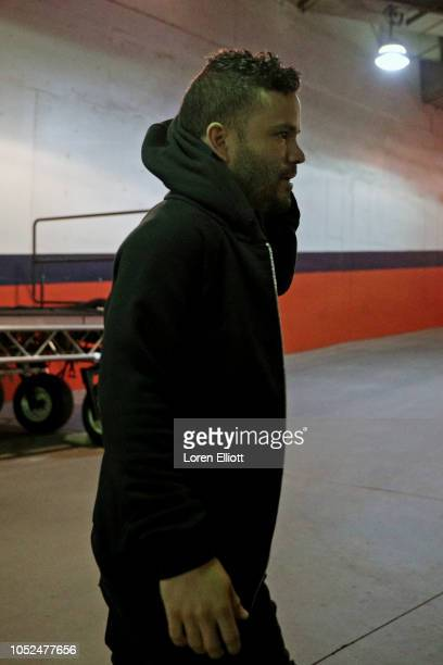 Jose Altuve of the Houston Astros arrives at Minute Maid Park prior to Game 5 of the ALCS against the Boston Red Sox on Thursday October 18 2018 in...