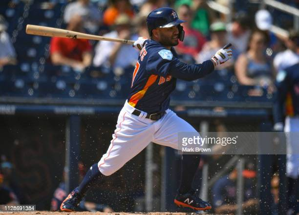Jose Altuve of the Houston Astros at bat during the spring training game against the New York Mets at The Ballpark of the Palm Beaches on March 4...