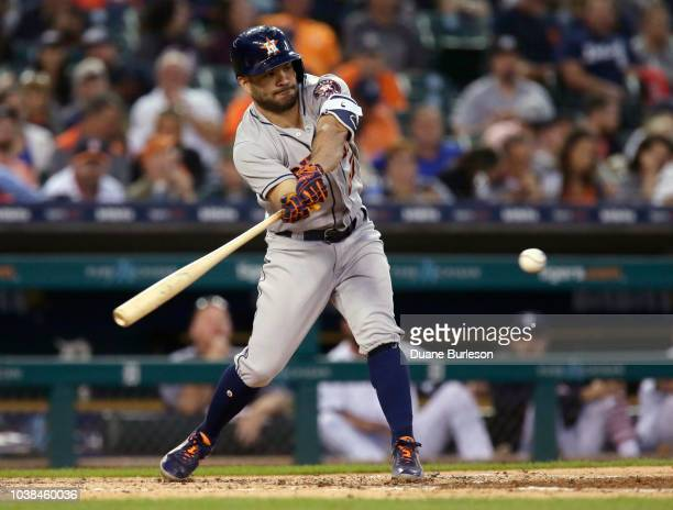Jose Altuve of the Houston Astros bats against the Detroit Tigers at Comerica Park on September 11 2018 in Detroit Michigan