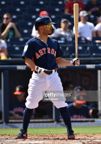 Jose Altuve of the Houston Astros bats against the Miami Marlins at The Ballpark of the Palm Beaches on February 28 2019 in West Palm Beach Florida