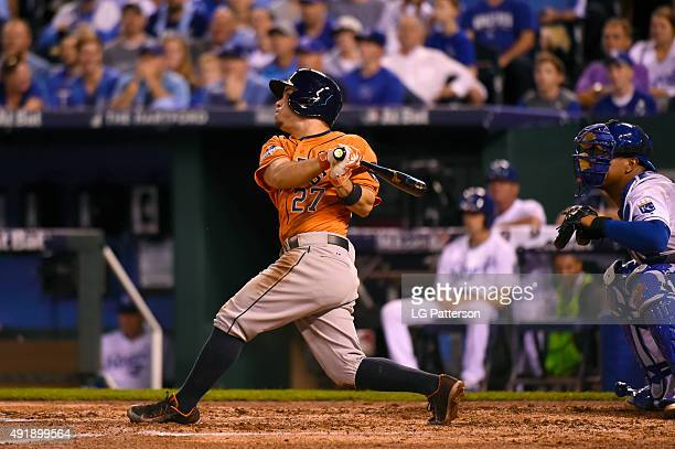 Jose Altuve of the Houston Astros bats during Game 1 of the ALDS against the Kansas City Royals at Kauffman Stadium on Thursday October 8 2015 in...