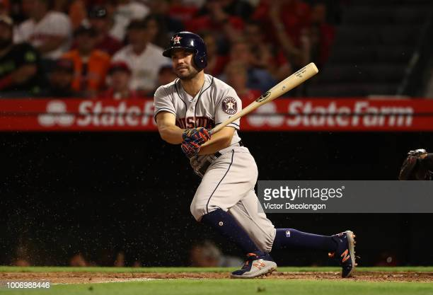 Jose Altuve of the Houston Astros bats in the fifth inning during the MLB game against the Los Angeles Angels of Anaheim at Angel Stadium on July 20...
