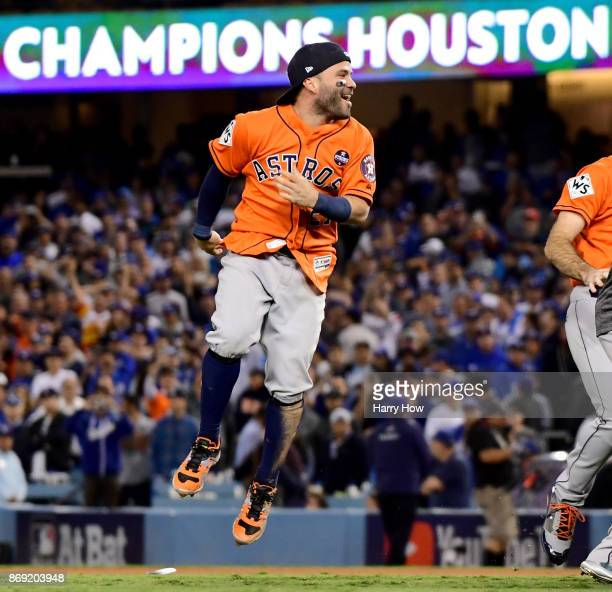 Jose Altuve of the Houston Astros celebrates defeating the Los Angeles Dodgers 5-1 in game seven to win the 2017 World Series at Dodger Stadium on...
