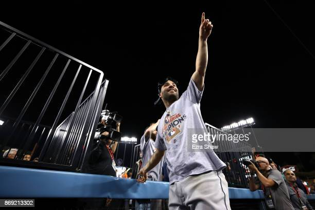 Jose Altuve of the Houston Astros celebrates defeating the Los Angeles Dodgers 51 in game seven to win the 2017 World Series at Dodger Stadium on...