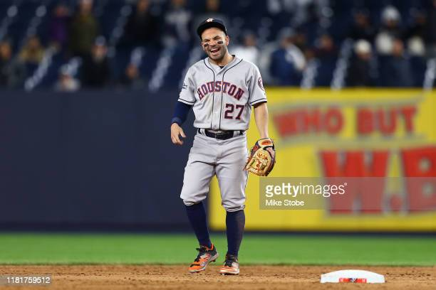 Jose Altuve of the Houston Astros celebrates his teams 8-3 win over the New York Yankees in game four of the American League Championship Series at...