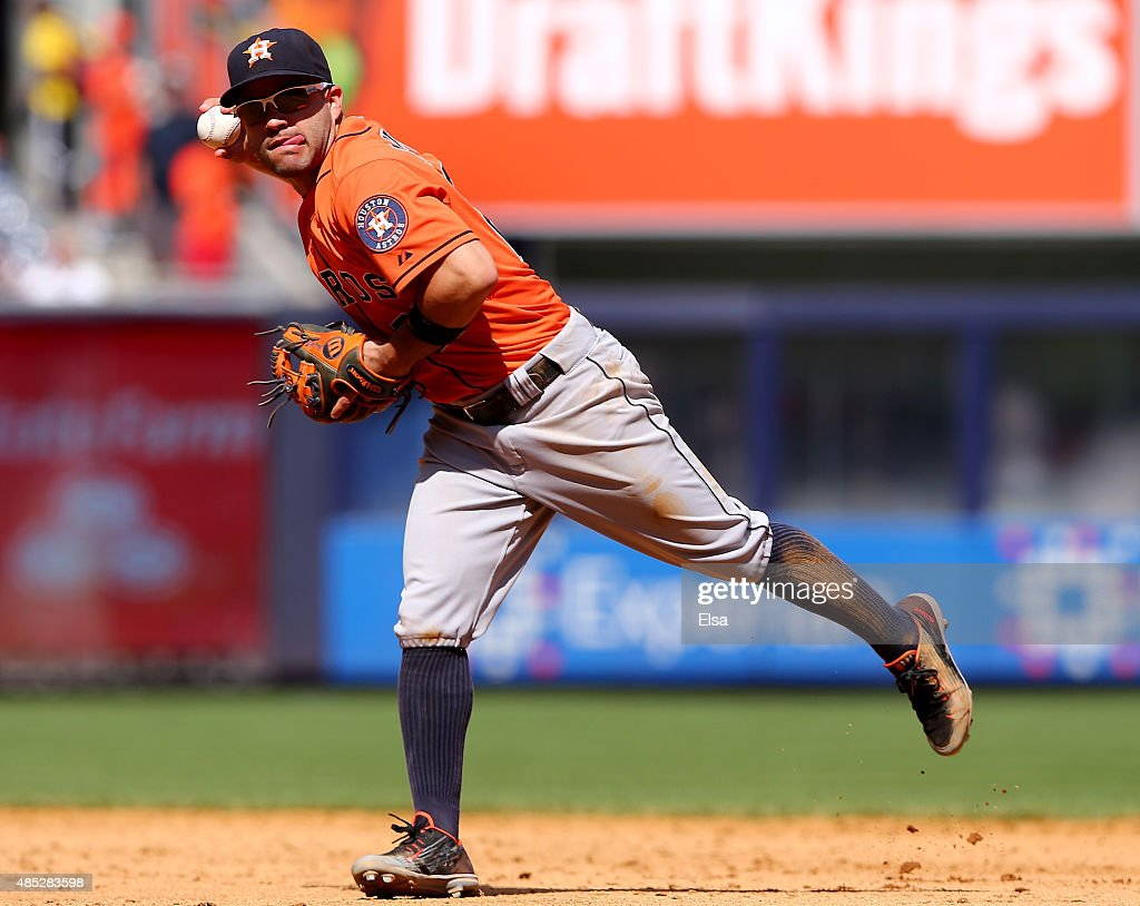 Jose Altuve #27 of the Houston Astros fiels a hit by Brett Gardner of the New York Yankees in the fifth inning on August 26, 2015 at Yankee Stadium in the Bronx borough of New York City.