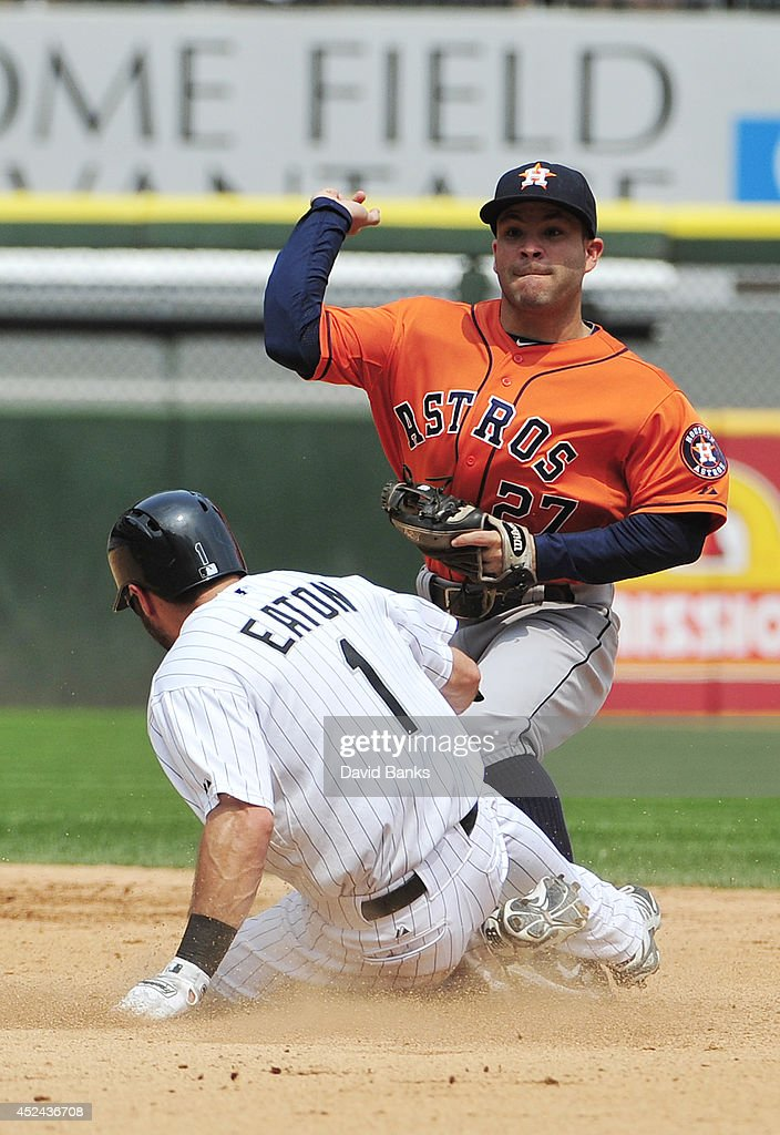 Jose Altuve #27 of the Houston Astros forces out Adam Eaton #1 of the Chicago White Sox during the fourth inning on July 20, 2014 at U.S. Cellular Field in Chicago, Illinois.