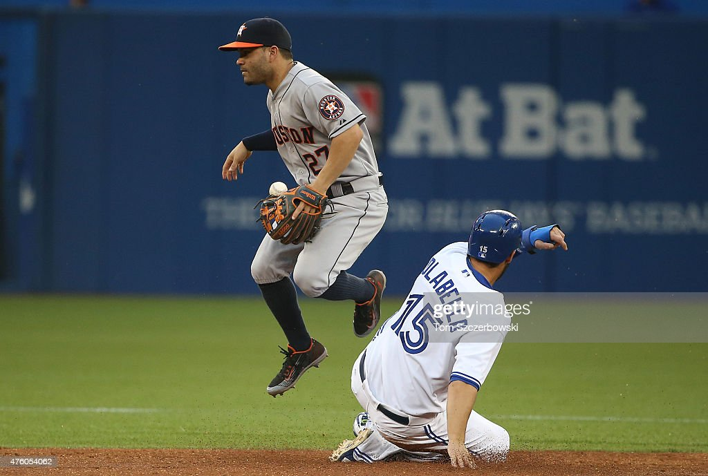 Jose Altuve #27 of the Houston Astros gets the force out at second base but loses his handle on the ball upon transferring to the throwing hand while attempting to complete a double play in the third inning during MLB game action as Chris Colabello #15 of the Toronto Blue Jays slides into second base on June 5, 2015 at Rogers Centre in Toronto, Ontario, Canada.