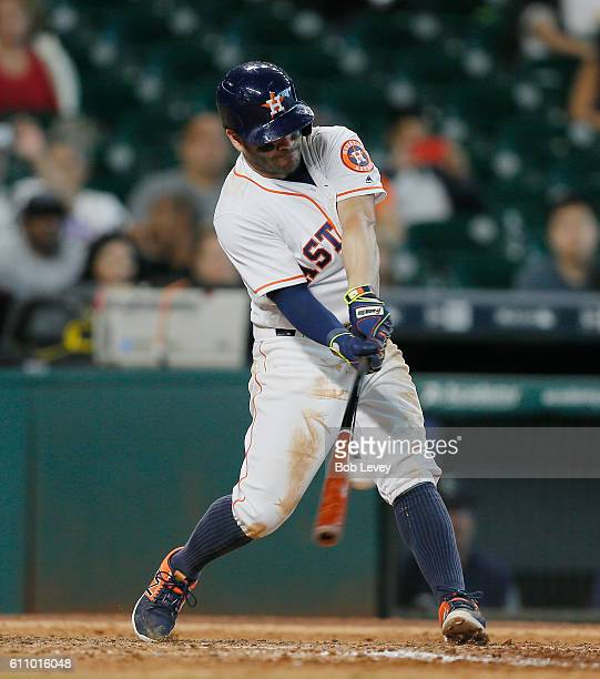 Jose Altuve of the Houston Astros grounds into a game ending double play in the ninth inning as the Seattle Mariners defeat the Houston Astros 124 at...