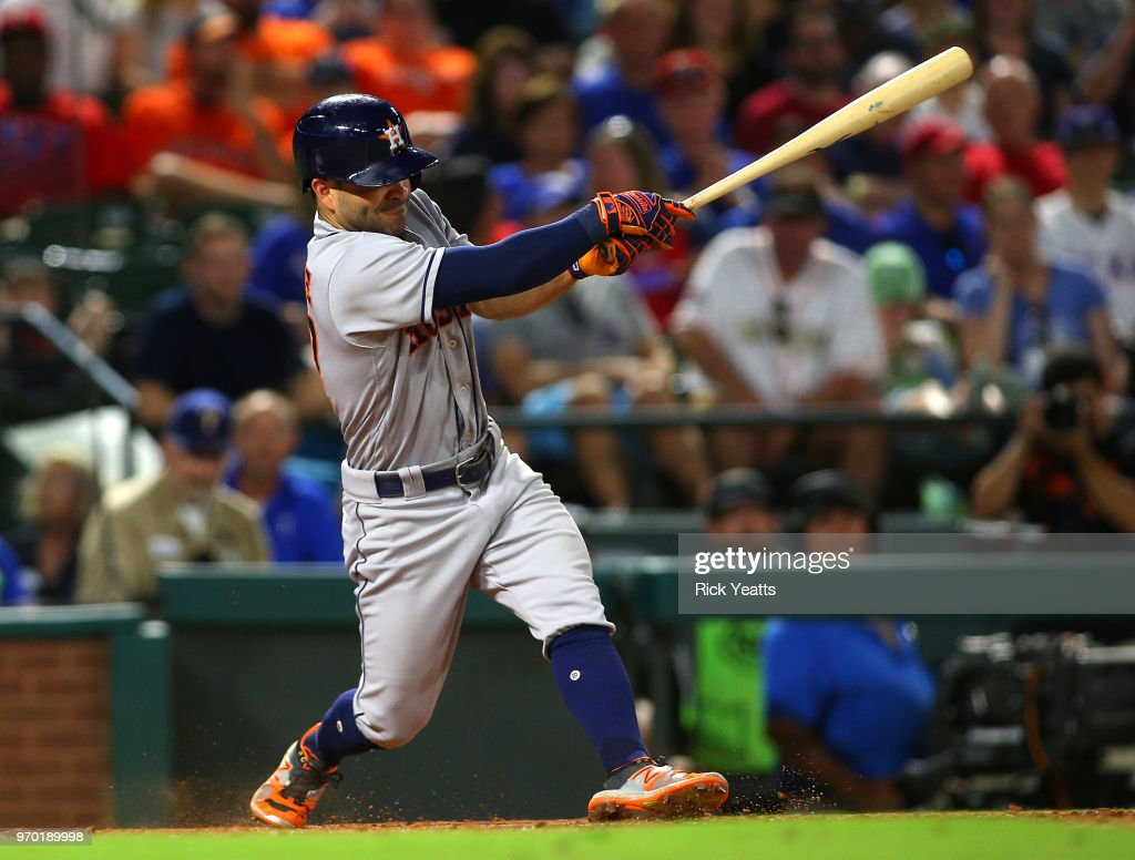 Jose Altuve #27 of the Houston Astros hit a two run home in the seventh inning at Globe Life Park in Arlington on June 8, 2018 in Arlington, Texas.