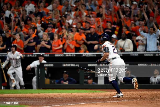 Jose Altuve of the Houston Astros hits a two-run walk-off home run in the bottom of the ninth inning to win Game 6 of the ALCS and the AL pennant...