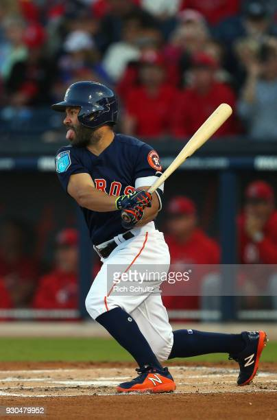 Jose Altuve of the Houston Astros in action during a spring training game against the St Louis Cardinals at FITTEAM Ball Park of the Palm Beaches on...