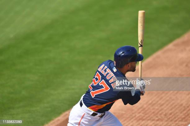 Jose Altuve of the Houston Astros in action during the spring training game against the New York Mets at The Ballpark of the Palm Beaches on March 4...