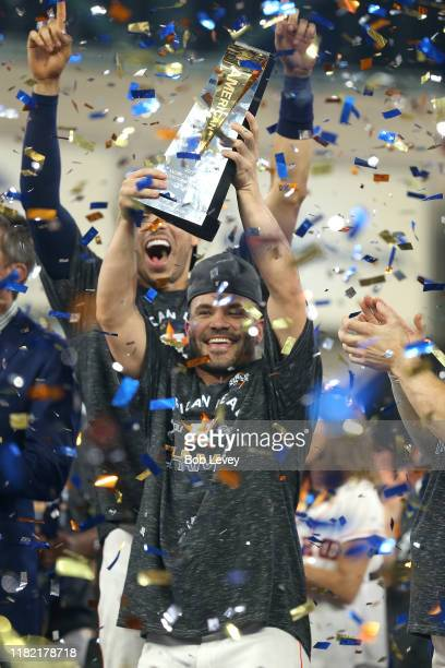 Jose Altuve of the Houston Astros is awarded series MVP following his teams 6-4 win against the New York Yankees in game six of the American League...