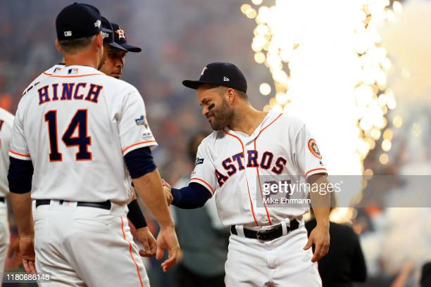 Jose Altuve of the Houston Astros is introduced prior to game one of the American League Championship Series against the New York Yankees at Minute...