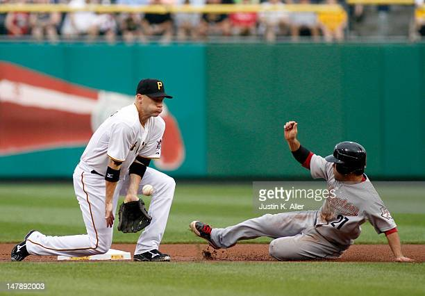 Jose Altuve of the Houston Astros is safe ahead of the tag by Clint Barmes of the Pittsburgh Pirates during the game on July 5 2012 at PNC Park in...
