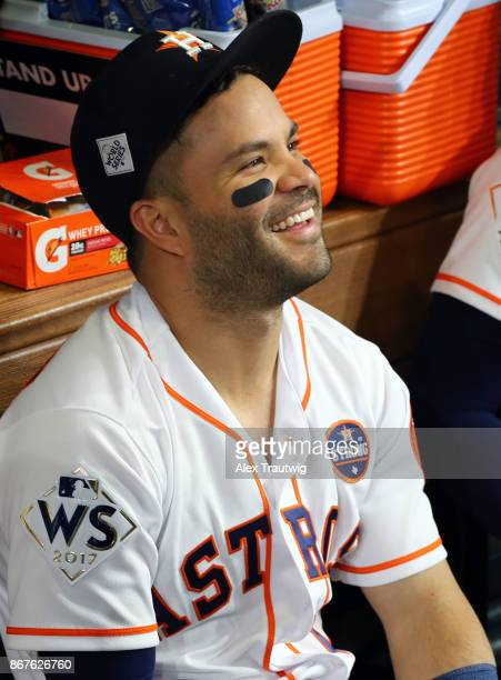 Jose Altuve of the Houston Astros is seen in the dugout before Game 4 of the 2017 World Series against the Los Angeles Dodgers at Minute Maid Park on...