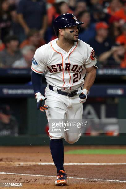 Jose Altuve of the Houston Astros jogs to first base during Game 5 of the ALCS against the Boston Red Sox at Minute Maid Park on Thursday October 18...