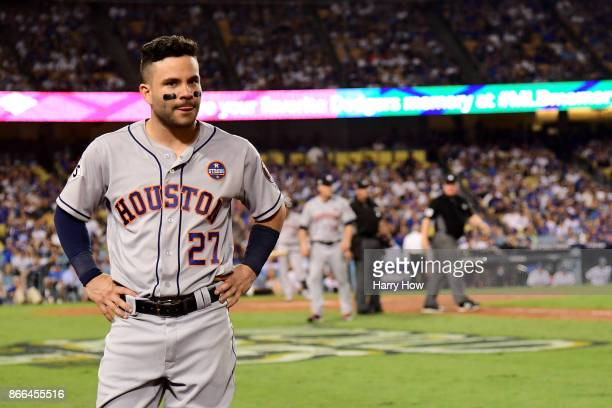 Jose Altuve of the Houston Astros looks on after hitting a solo home run during the tenth inning against the Los Angeles Dodgers in game two of the...