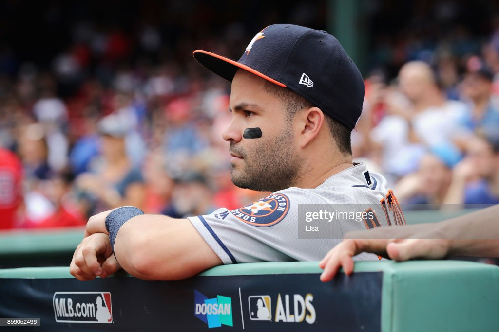 Jose Altuve #27 of the Houston Astros looks on before game three of the American League Division Series between the Houston Astros and the Boston Red Sox at Fenway Park on October 8, 2017 in Boston, Massachusetts.