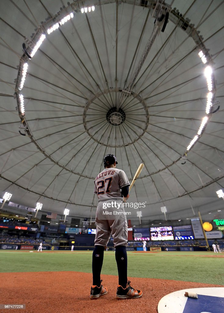 Jose Altuve #27 of the Houston Astros looks on during a game against the Tampa Bay Rays at Tropicana Field on June 29, 2018 in St Petersburg, Florida.