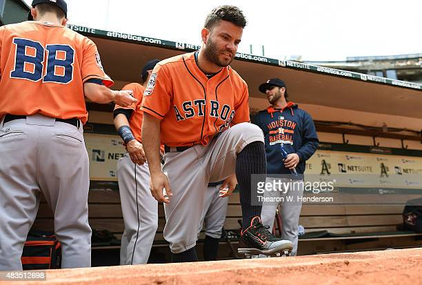 Jose Altuve of the Houston Astros looks on from dugout prior to the start of the game against the Oakland Athletics at Oco Coliseum on August 8 2015...
