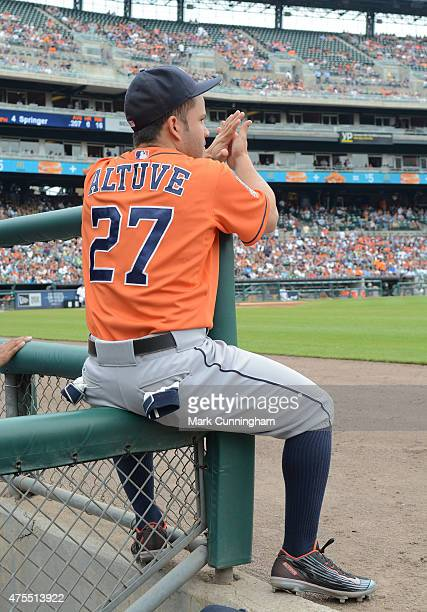 Jose Altuve of the Houston Astros looks on from the dugout during the game against the Detroit Tigers at Comerica Park on May 24 2015 in Detroit...