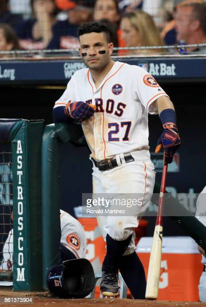 Jose Altuve of the Houston Astros looks on from the dugout in the sixth inning against the New York Yankees during game two of the American League...