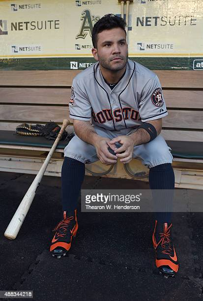 Jose Altuve of the Houston Astros looks on from the dugout prior to the game against the Oakland Athletics at Oco Coliseum on September 9 2015 in...