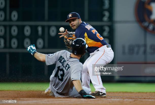 Jose Altuve of the Houston Astros makes a play at second base in the seventh inning on Dustin Ackley of the Seattle Mariners at Minute Maid Park on...