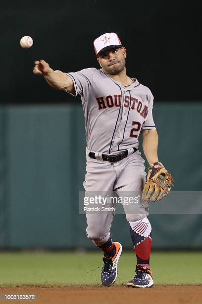 Jose Altuve of the Houston Astros makes a play during the 89th MLB AllStar Game presented by Mastercard at Nationals Park on July 17 2018 in...