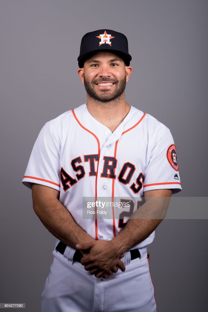Jose Altuve #27 of the Houston Astros poses during Photo Day on Wednesday, February 21, 2018 at the Ballpark of the Palm Beaches in West Palm Beach, Florida.