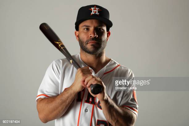 Jose Altuve of the Houston Astros poses for a portrait at The Ballpark of the Palm Beaches on February 21 2018 in West Palm Beach Florida