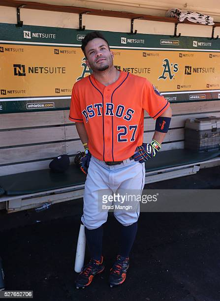 Jose Altuve of the Houston Astros poses in the dugout before the game against the Oakland Athletics at the Oakland Coliseum on Saturday April 30 2016...