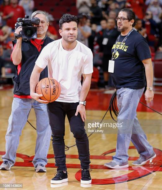 Jose Altuve of the Houston Astros prepare for the Houston Rockets First Shot For Charity at Toyota Center on December 22 2018 in Houston Texas NOTE...