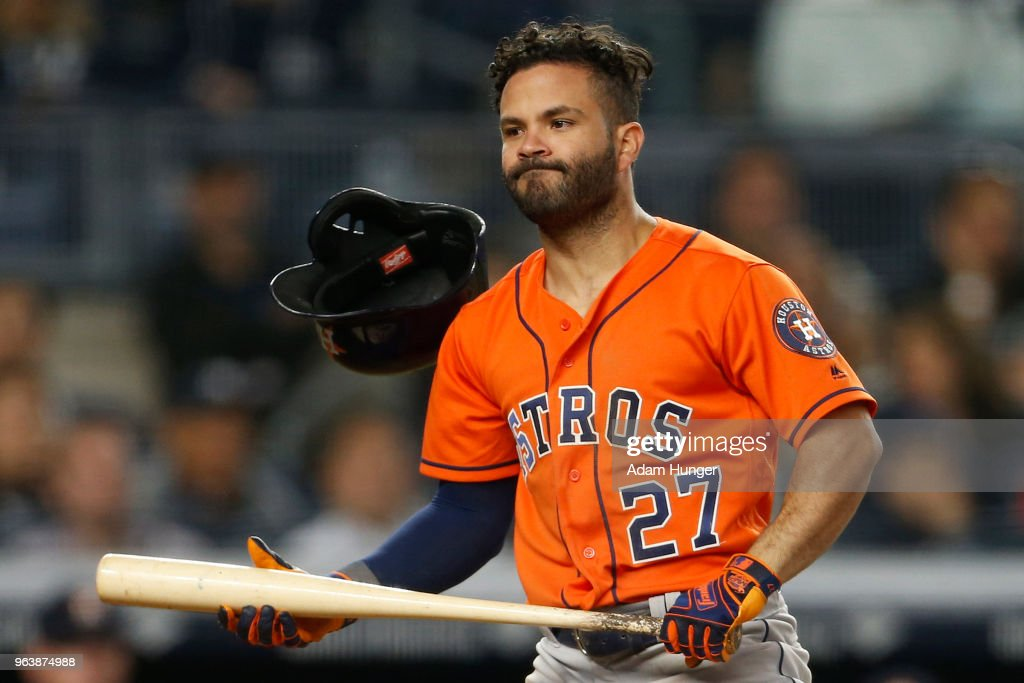 Jose Altuve #27 of the Houston Astros reacts after striking out against the New York Yankees during the eighth inning at Yankee Stadium on May 30, 2018 in the Bronx borough of New York City.