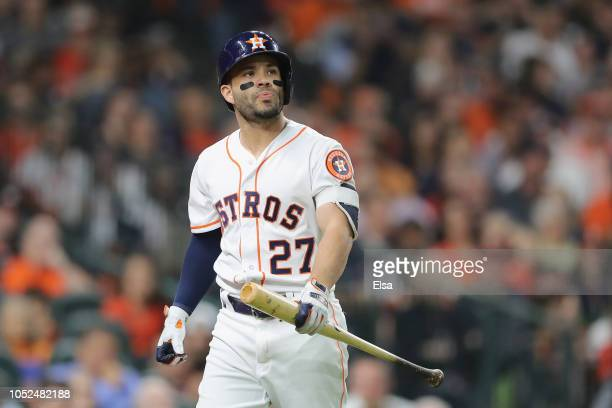 Jose Altuve of the Houston Astros reacts after striking out in the fourth inning against the Boston Red Sox during Game Five of the American League...