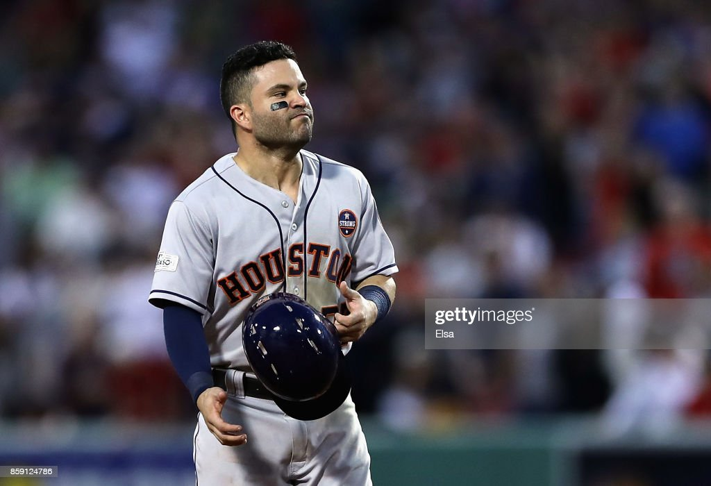 Jose Altuve #27 of the Houston Astros reacts in the ninth inning against the Boston Red Sox during game three of the American League Division Series at Fenway Park on October 8, 2017 in Boston, Massachusetts.