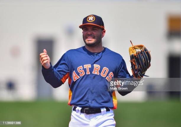 Jose Altuve of the Houston Astros reacts to a call during the spring training game against the New York Mets at The Ballpark of the Palm Beaches on...