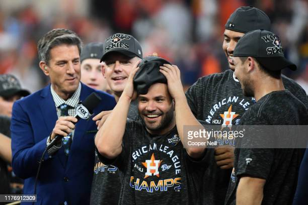Jose Altuve of the Houston Astros reacts to being awarded the ALCS MVP after winning the AL pennant with a 6-4 win in Game 6 of the ALCS against the...