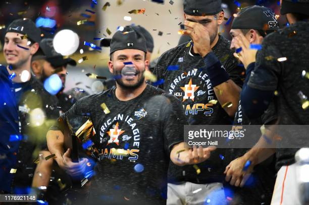 Jose Altuve of the Houston Astros receives the ALCS MVP award after winning the AL pennant with a 6-4 win in Game 6 of the ALCS against the New York...