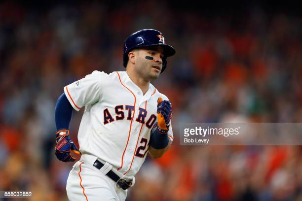 Jose Altuve of the Houston Astros runs the bases after hitting a home run in the seventh inning against the Boston Red Sox during game one of the...