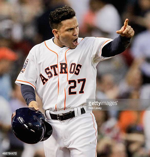 Jose Altuve of the Houston Astros scores in the sixth inning against the Cleveland Indians on Opening Day at Minute Maid Park on April 6 2015 in...